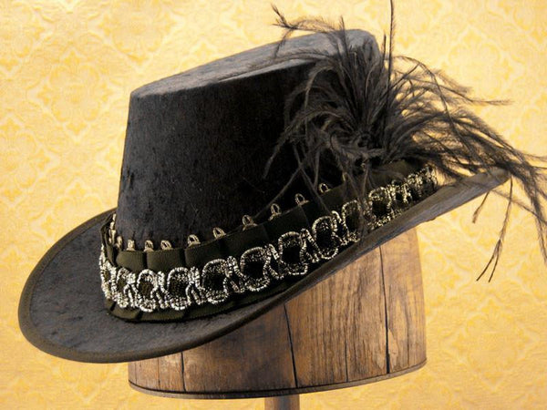 Crushed Velvet Tall Hat - Black / Black Silver - Tall Toad