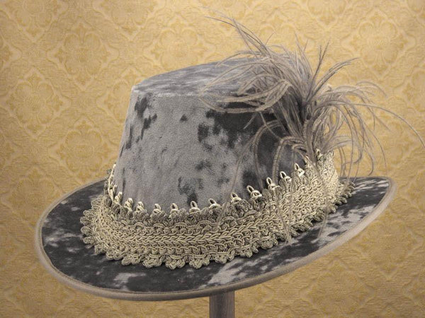 Crushed Velvet Tall Hat - Dove Gray / Silver - Tall Toad