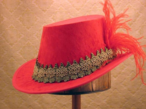 Crushed Velvet Tall Hat - Red / Gold - Tall Toad