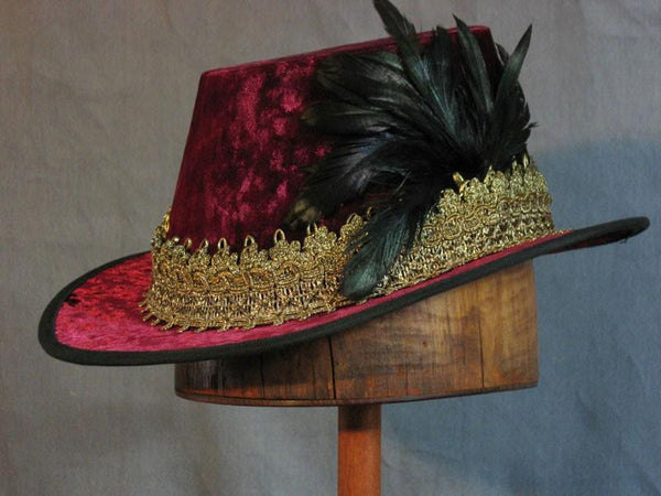 Crushed Velvet Tall Hat - Wine / Gold - Tall Toad