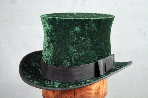Top Hat - Green Crushed Velvet - Tall Toad