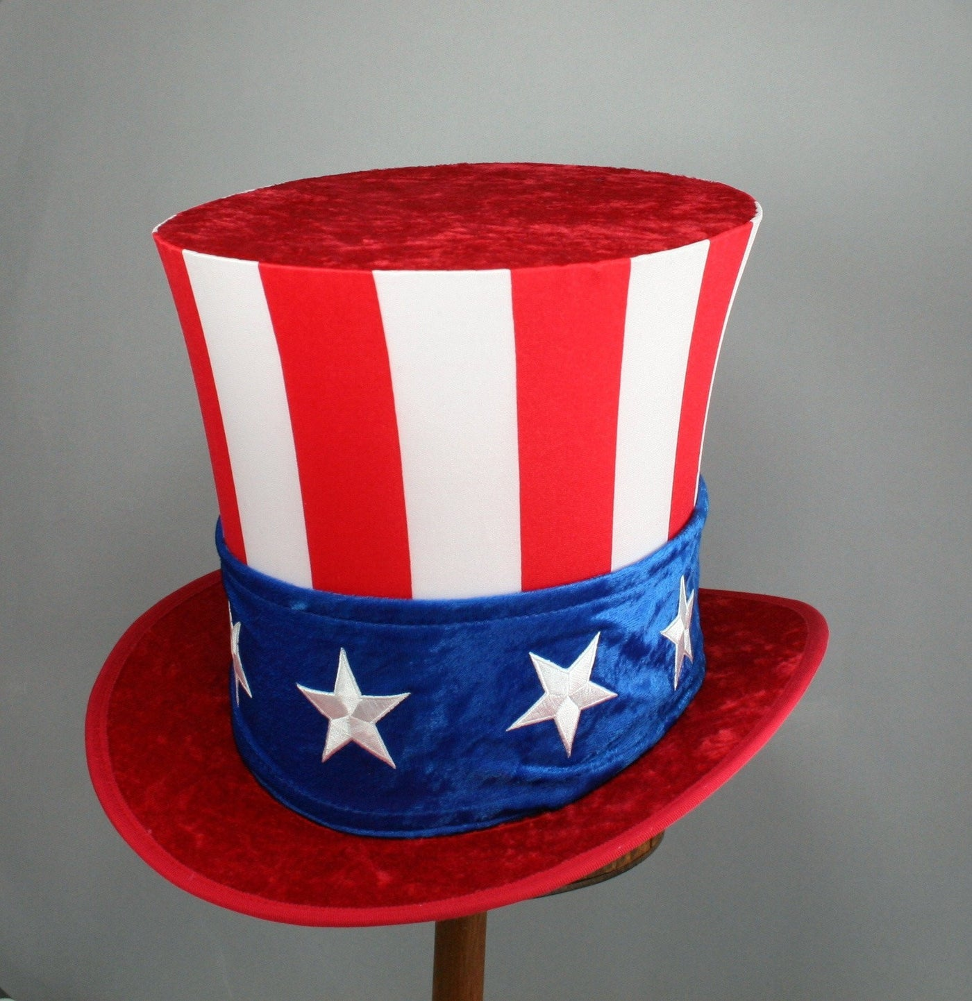 Uncle Sam Top Hat - Classic Red Brim - Tall Toad