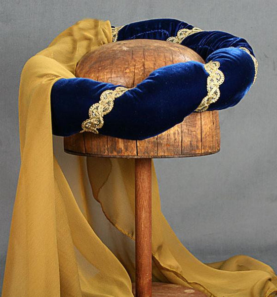 Veiled Roundlet - Blue / Gold Trim / Gold Veil - Tall Toad