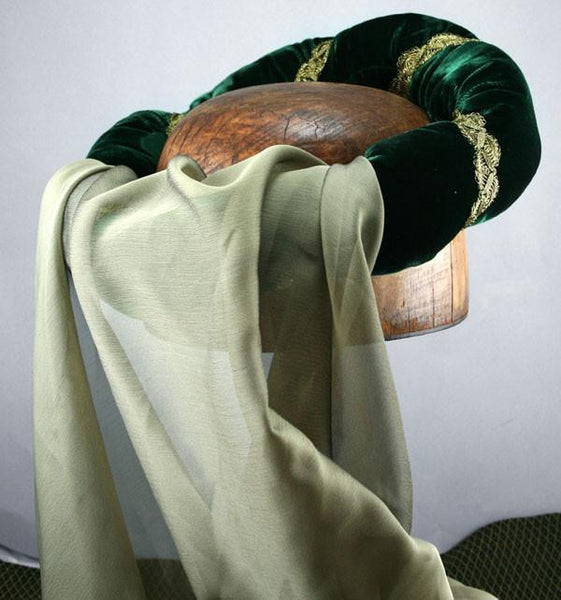 Veiled Roundlet - Green / Gold Trim / Green Veil - Tall Toad