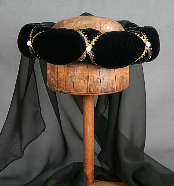 Veiled Roundlet - Black / Gold Trim / Black Veil / Pearls - Tall Toad