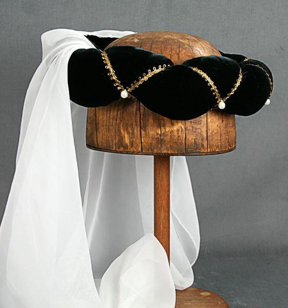 Veiled Roundlet - Black / Gold Trim / White Veil / Pearls - Tall Toad