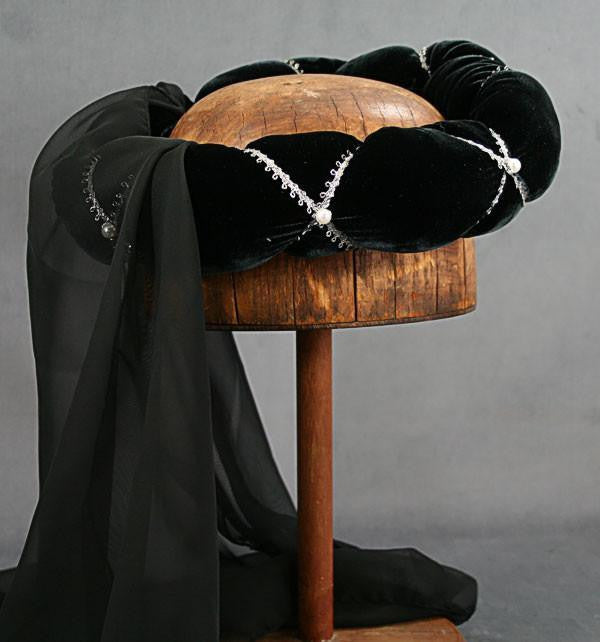 Veiled Roundlet - Black / Silver Trim / Black Veil / Pearls - Tall Toad