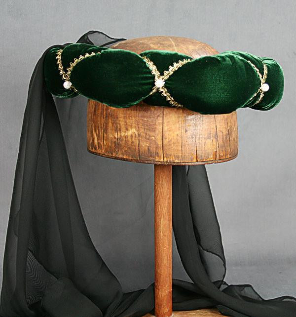 Veiled Roundlet - Green / Gold Trim / Black Veil / Pearls - Tall Toad