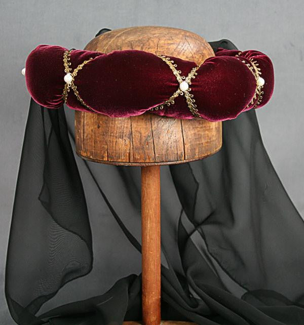 Veiled Roundlet - Ruby Wine / Gold Trim / Black Veil / Pearls - Tall Toad