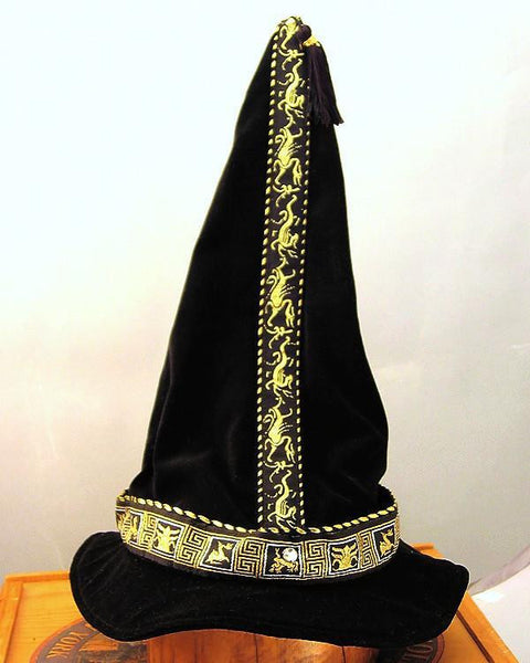 Cotton Velveteen Wizard Hat - Black / Gold Dragon and Griffin - Tall Toad