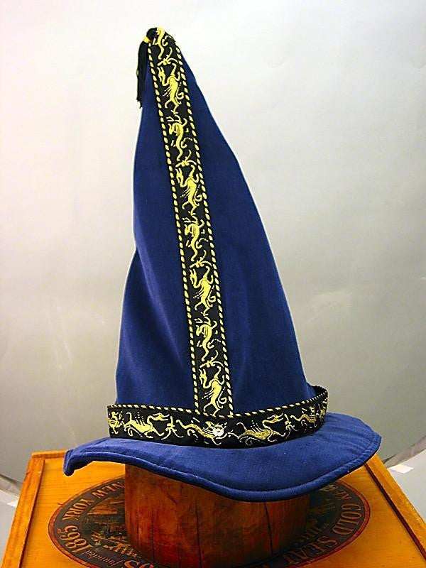 Cotton Velveteen Wizard Hat - Blue / Gold Dragon - Tall Toad