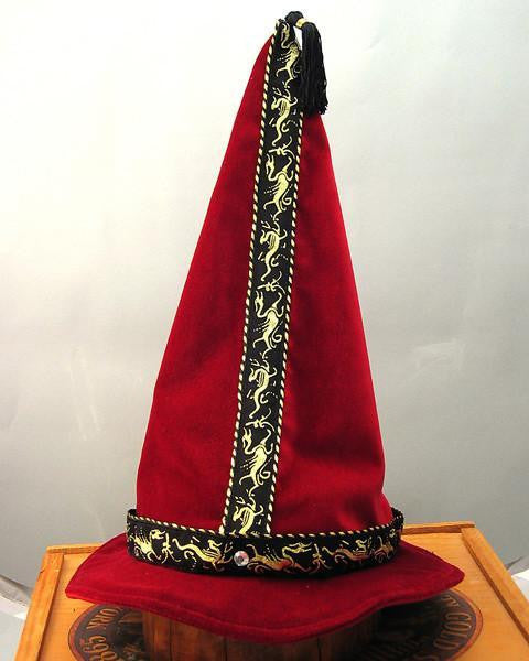 Cotton Velveteen Wizard Hat - Wine / Gold Dragon - Tall Toad
