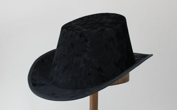 Crushed Velvet Tall Hat - Black Plain - Tall Toad