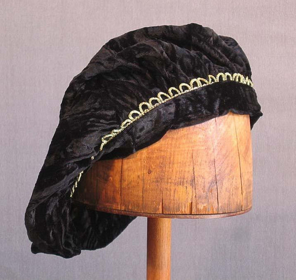 Crushed Velvet Beret - Black / Gold Trim - Tall Toad