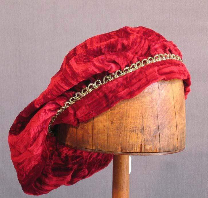 Crushed Velvet Beret - Red Long / Gold Trim - Tall Toad