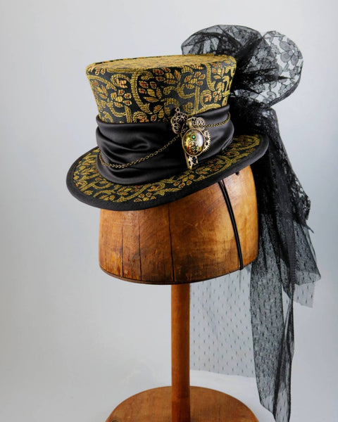 Mini Top Hat - Black Amber Brocade / Satin Band / Steampunk Decoration / Black Lace