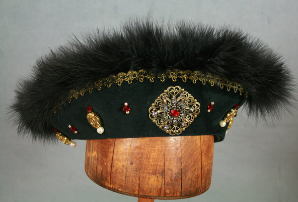Henry VIII Flat Cap - Black / Black Marabou / Gold Trim / Ruby Jewels - Tall Toad