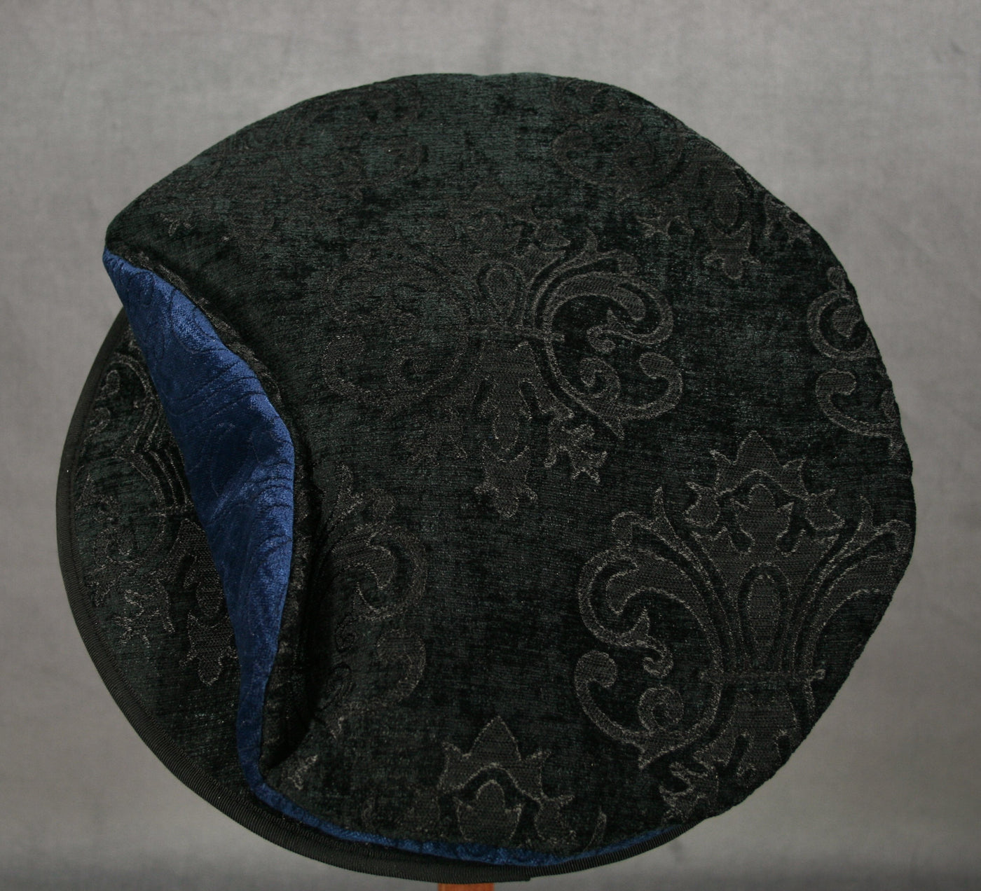 Flat Cap - Black Chenille / Blue Chenille - Tall Toad