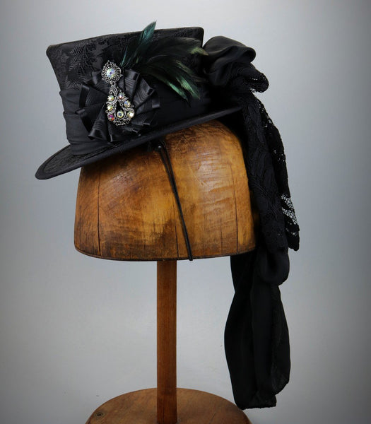 Black Mini Top Hat with Antique Brooch and Ribbon Cockade