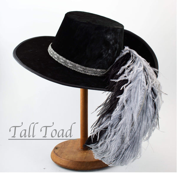 Crushed Velvet Cavalier - Black / Antique Silver / Silver Black Feathers - Tall Toad