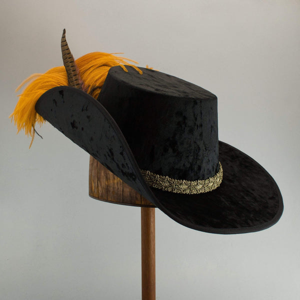 Crushed Velvet Cavalier - Black / Antique Gold / Butterscotch and Black Feathers - Tall Toad