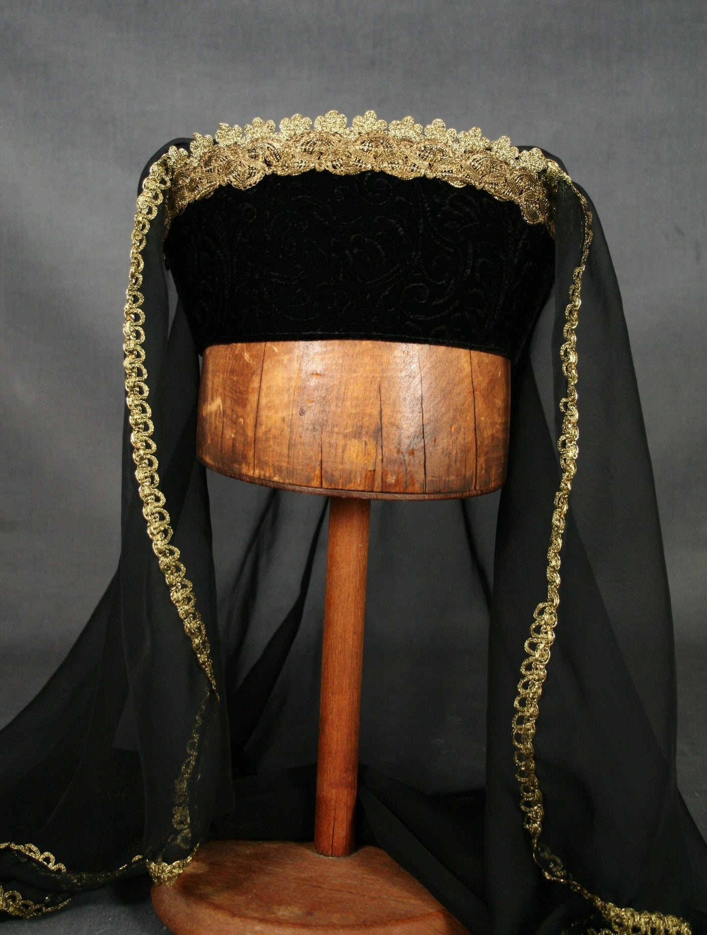 Tall Circlet  - Black Embossed Velvet / Gold Trim / Black Veil - Tall Toad