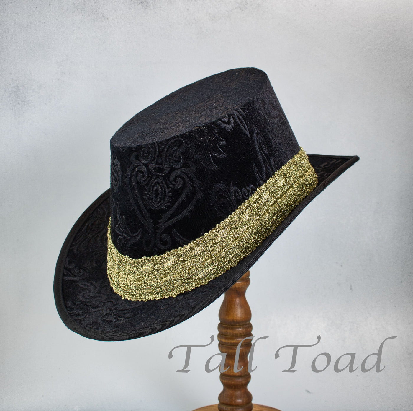 Crushed Velvet Tall Hat - Black Embossed / Gold - Tall Toad