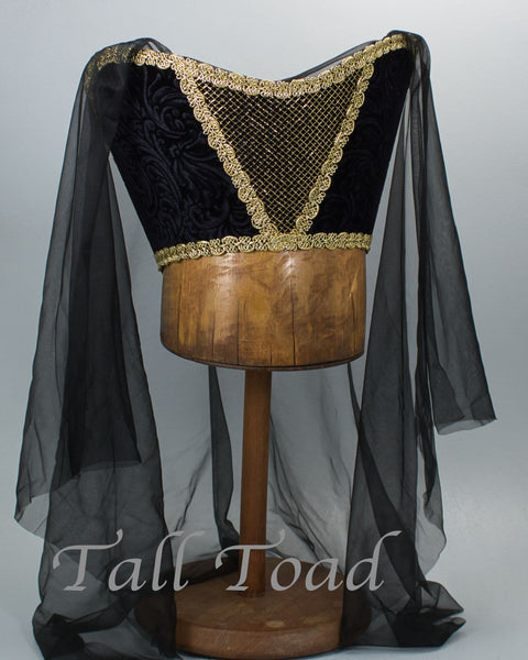 Horned Headdress - Black Velvet / Gold Trim / Black Veil - Tall Toad