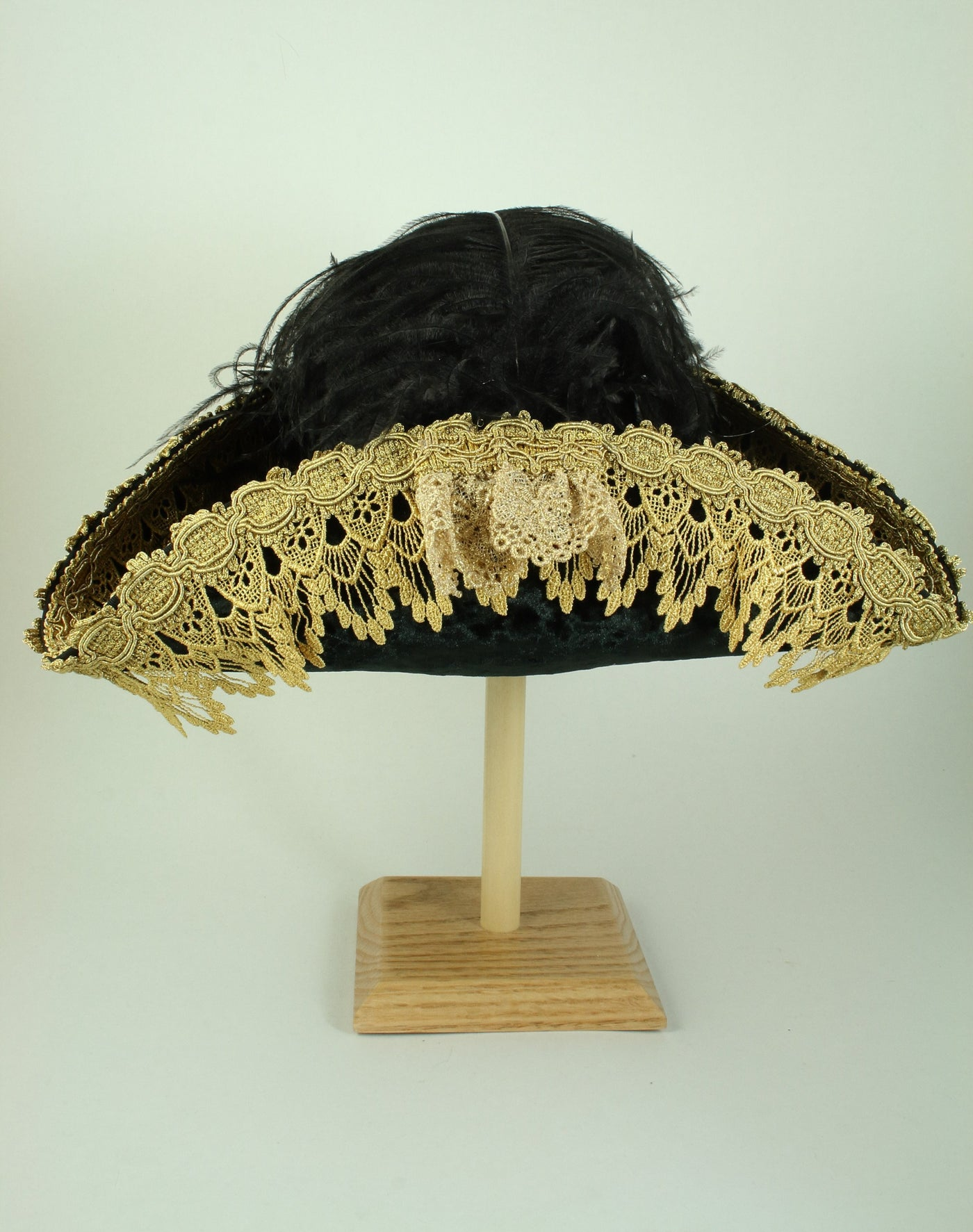 Pirate Hat - Black / Gold Metallic Lace - Tall Toad