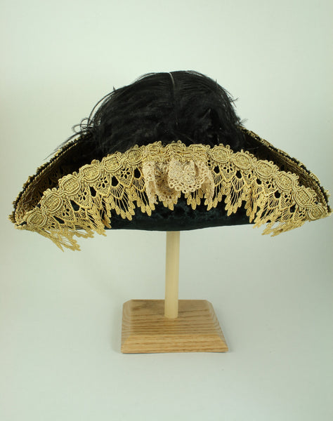 Pirate Hat - Black / Gold Metallic Lace