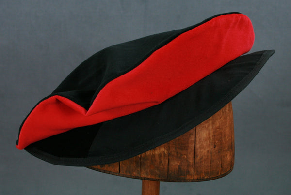 Cotton Velveteen Flat Cap - Black / Red - Tall Toad