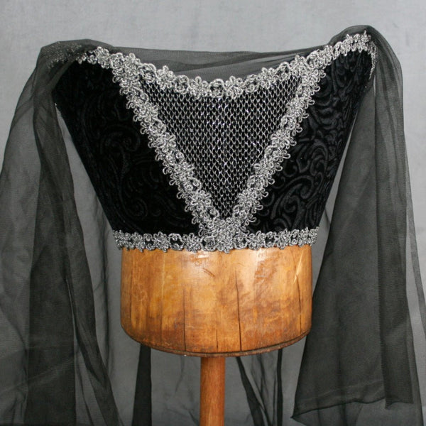 Horned Headdress - Black Velvet / Silver Trim / Black Veil - Tall Toad