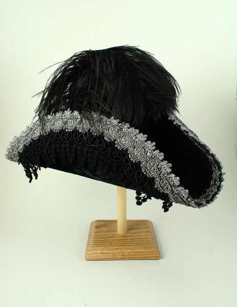 Pirate Hat - Black / Silver / Black Lace (Medium)