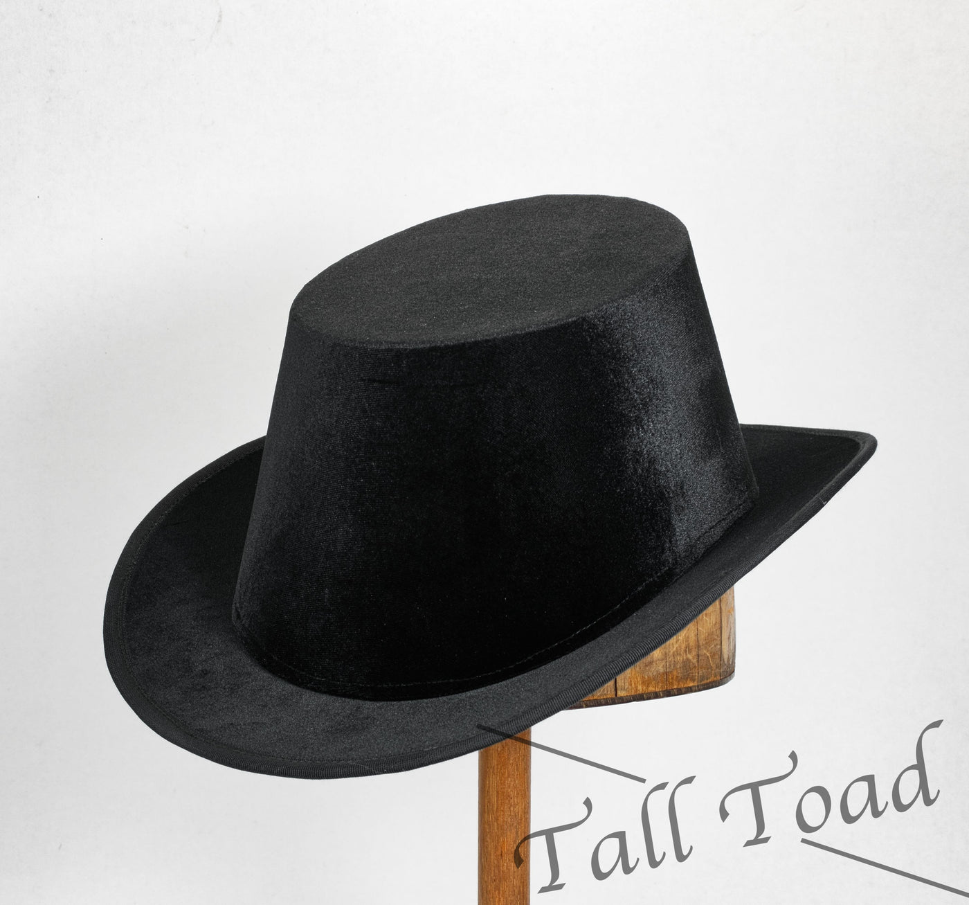 Tall Hat - Black Smooth Velvet Plain - Tall Toad