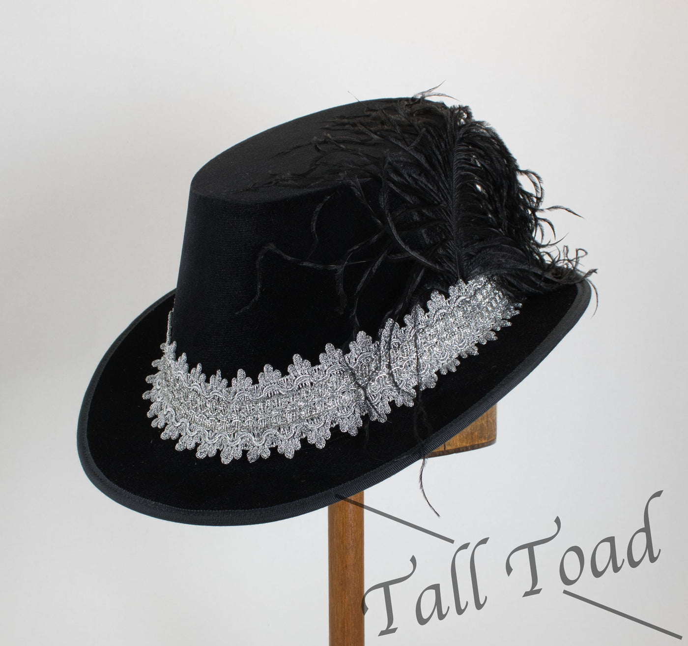 Tall Hat - Black / Bright Silver Smooth Velvet - Tall Toad