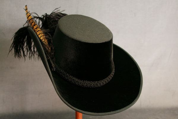 Smooth Velvet Cavalier - Black / Black Feathers with Pheasant