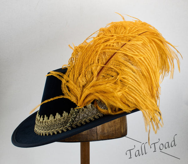 Single Plume Feather Hat Pin - Butterscotch - Tall Toad