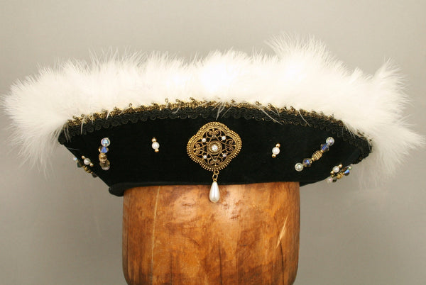 Henry VIII Flat Cap - Black / White Marabou / Gold Trim / AB Jewels - Tall Toad