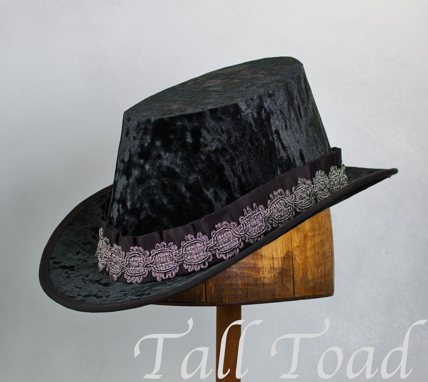 Crushed Velvet Tall Hat - Black Silver Medallion - Tall Toad