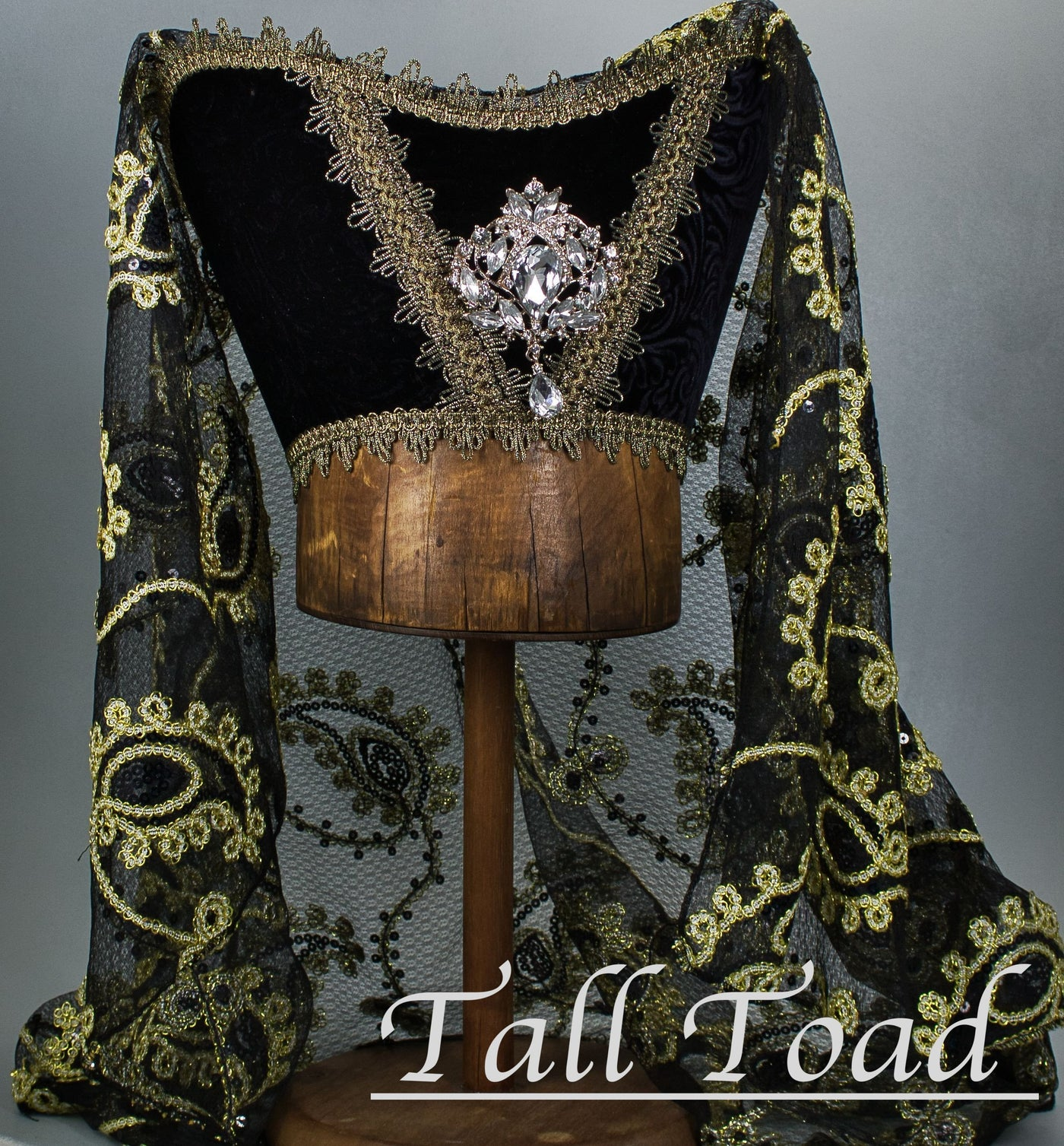 Fancy Horned Headdress - Black Velvet / Black Gold Sequin Veil / Ice Jewel - Tall Toad