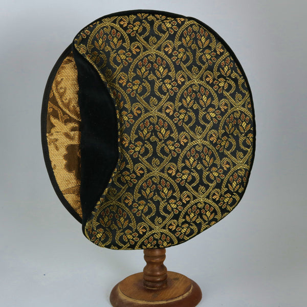 Flat Cap - Gold Black Brocade / Black Side / Gold brim - Tall Toad