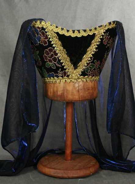 Horned Headdress - Black Multi Colored Velvet / Blue Metallic Veil - Tall Toad
