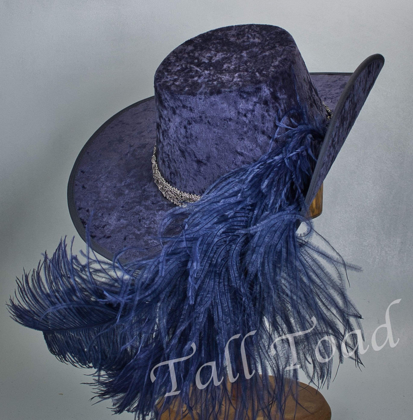 Crushed Velvet Cavalier - Blue / Antique Silver / Blue Feathers - Tall Toad