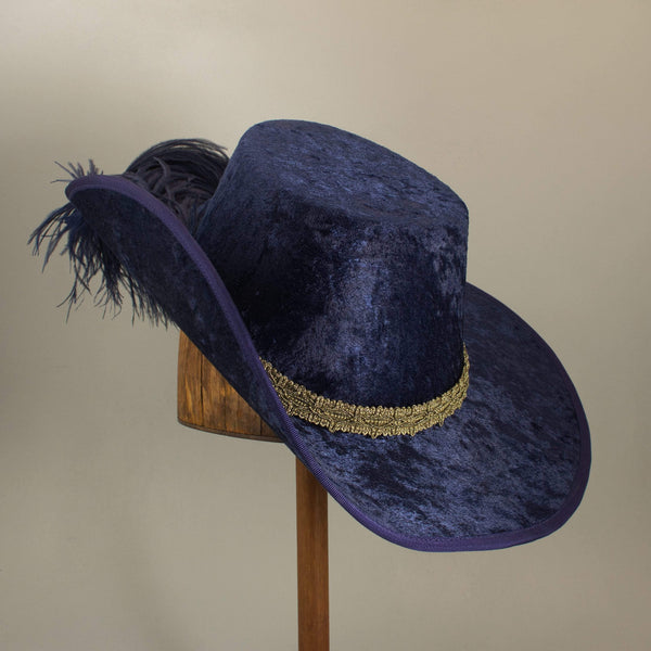 Crushed Velvet Cavalier - Blue / Antique Gold / Blue Feathers - Tall Toad