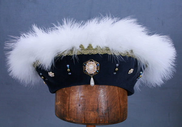 Henry VIII Flat Cap - Blue / White Marabou / Gold Trim / AB Jewels - Tall Toad