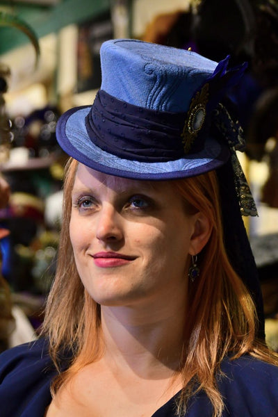 Mini Top Hat - Blue Jacquard / Cameo / Goose Feathers - Tall Toad