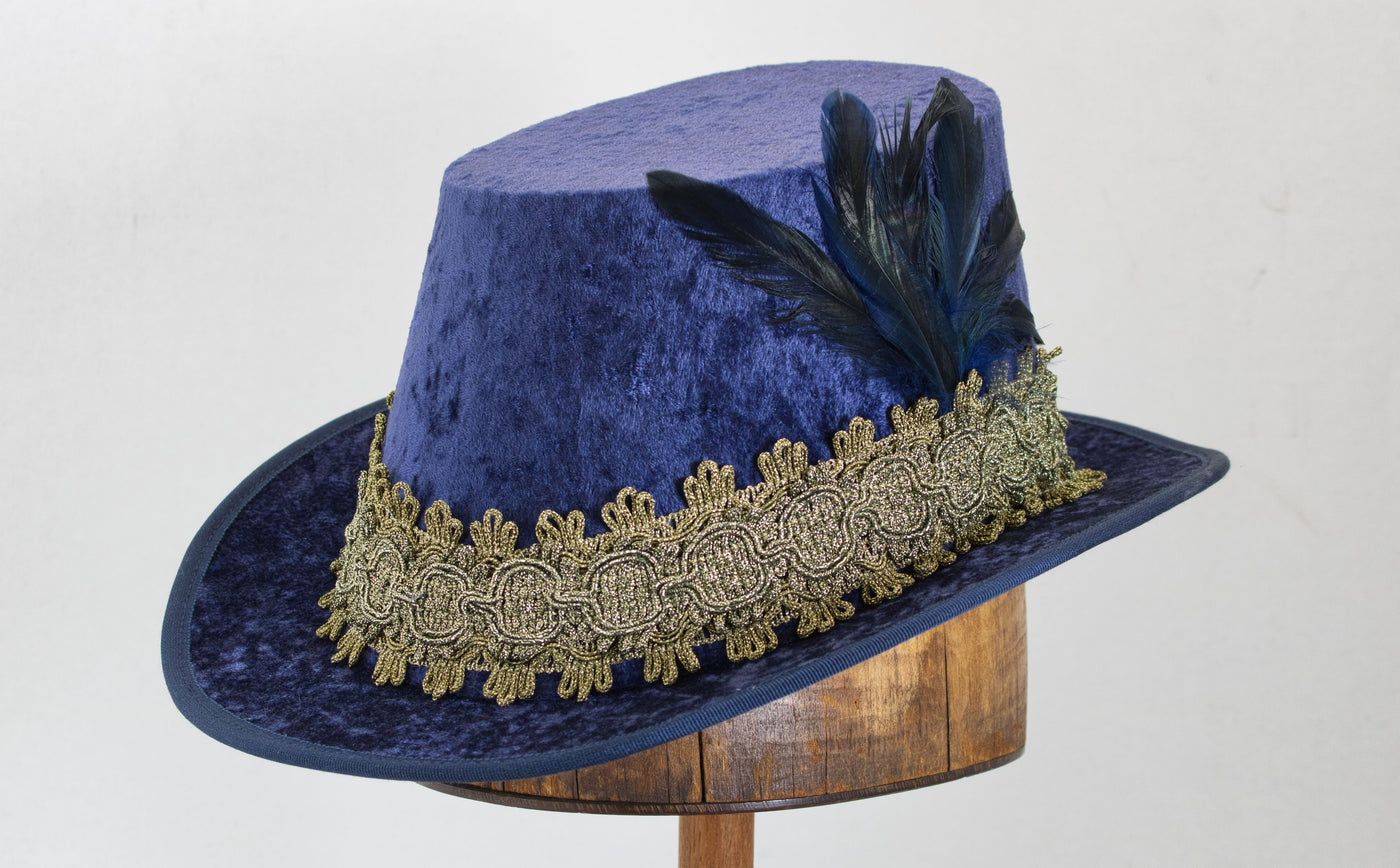 Crushed Velvet Tall Hat - Blue / Gold - Tall Toad