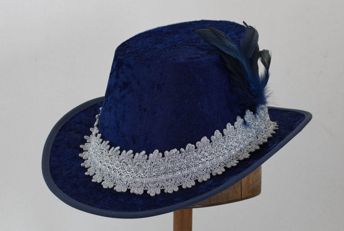 Crushed Velvet Tall Hat - Blue / Silver - Tall Toad