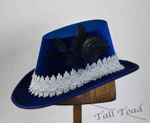Tall Hat - Blue / Silver Smooth Velvet - Tall Toad