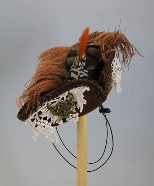 Brown Mini Pirate Tricorn with Ivory lace and skull and crossbones